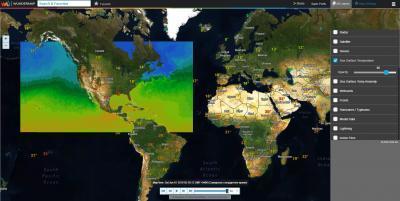 Интерактивная карта. Температура поверхности моря (только США)