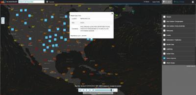 Интерактивная карта. Предупреждения о шторме