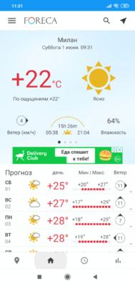 Foreca. Текущая погода и прогноз на несколько дней
