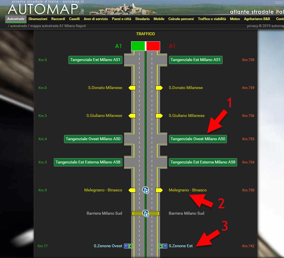 Схема итальянской автострады. Источник: www.automap.it