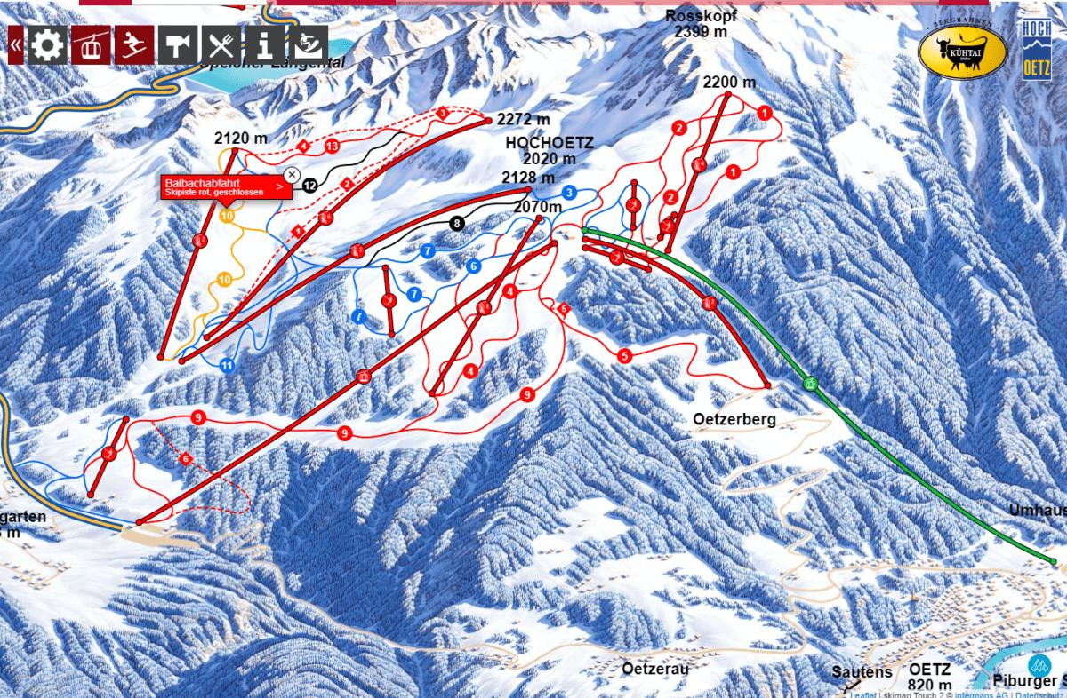 Интерактивная карта лыжных трасс курорта Hochoetz. Источник: www.oetz.com